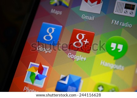 BANGKOK-JANUARY11 2015: Google Plus Icon on Phone.  Google Plus is a social networking and identity service[3][4] that is owned and operated by Google Inc. - stock photo