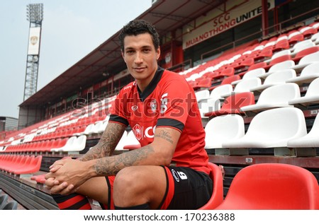 BANGKOK - JANUARY 8: Jay Bothroyd footballer from England poses during opening the new player of Muangthong United at SCG Stadium on January 8, 2014 in Bangkok - stock photo