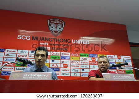 BANGKOK - JANUARY 8: Jay Bothroyd footballer (L) from England and Scott Cooper (R) during opening the new player of Muangthong United at SCG Stadium on January 8, 2014 in Bangkok.