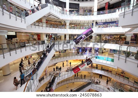BANGKOK -JANUARY 17 : People shopping at Central World Shopping Center on January 17, 2015, in Bangkok, Thailand.Central World Shoppinfg Center is one of  the biggest shopping center in Thailand
