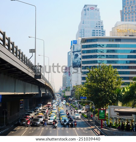 BANGKOK - JANUARY 21: The big automobile traffic in the center of Bangkok 21 January 2015.