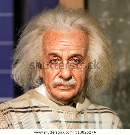 BANGKOK - JUL 22: A waxwork of Albert Einstein on display at Madame Tussauds on July 22, 2015 in Bangkok, Thailand. Madame Tussauds' newest branch hosts waxworks of numerous stars and celebrities - stock photo