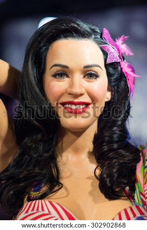 BANGKOK-JUL 22:: A waxwork of Katy Perry on display at Madame Tussauds on on July 22, 2015 in Bangkok, Thailand. Madame Tussauds' newest branch hosts waxworks of numerous stars and celebrities