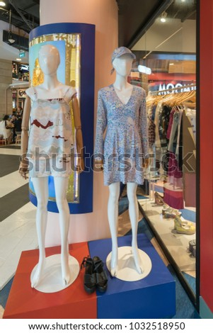 BANGKOK - JUL 28 : The fashion on mannequin in Terminal 21 Department Store  on Jul 28, 2017 in Bangkok , Thailand.