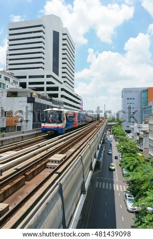BANGKOK JULY 17: A BTS Skytrain on elevated rails on July 17, 2016 in Bangkok, Thailand. BTS is the important public transport rail network in Bangkok.