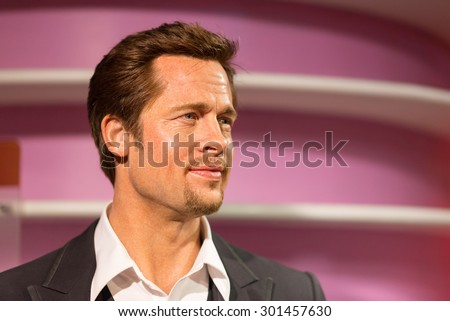 BANGKOK -JULY 22: A waxwork of Brad Pitt on display at Madame Tussauds on July 22, 2015 in Bangkok, Thailand. Madame Tussauds' newest branch hosts waxworks of numerous stars and celebrities
