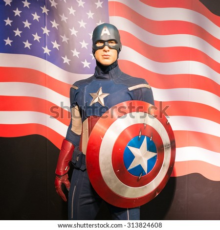 BANGKOK -JULY 22: A waxwork of Captain America on display at Madame Tussauds on July 22, 2015 in Bangkok, Thailand. Madame Tussauds' newest branch hosts waxworks of numerous stars and celebrities - stock photo