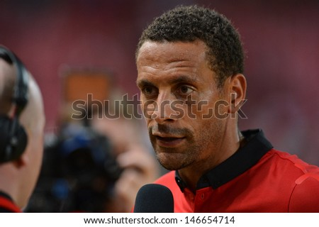 BANGKOK - JULY 13: Captain Rio Ferdinand of Man Utd. interview during Singha 80th Anniversary Cup Manchester United vs Singha All Star at Rajamangala Stadium on July 13,2013 in Bangkok, Thailand.
