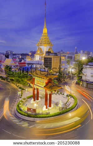 BANGKOK - JULY 15: Gate of Chinatown on July 15, 2014 in Bangkok, Thailand. Arch marks the beginning of famous Yaowarat Road, heart of Chinatown. It was taken in night time - stock photo