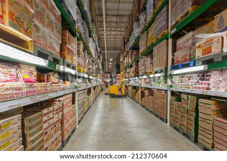 BANGKOK - July 13, 2014 many  box of instant noodle in makro supermarket,Makro is an originally Dutch chain of Warehouse clubs, also called cash and carries. - stock photo