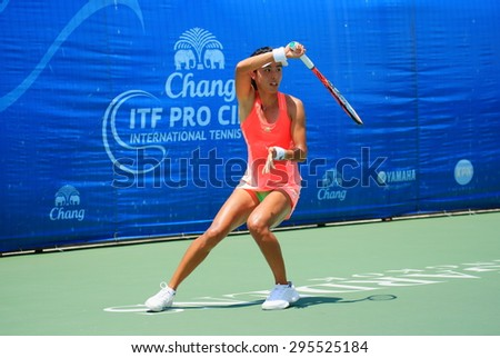 BANGKOK, JULY 11 : Qiang WANG (CHN) action in Chang-SAT ITF Pro Circuit International Tennis Federation 2015 at Rama Gardens Hotel on July 11, 2015 in Bangkok, Thailand. She won in the final match.