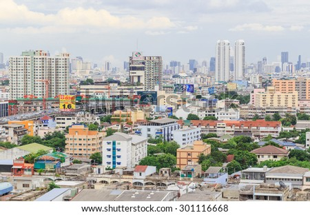BANGKOK-JULY,29 : The nice view of main city are density by residence and building . Many people lived here where crowded community but convenient.THAILAND JULY,29 2015