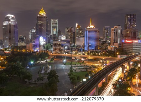 BANGKOK - JULY 11: Wonderful night period cityscape at Lumphini Park , July 11, 2014, Bangkok, Thailand. Lumphini Park is a park in Bangkok, Thailand.