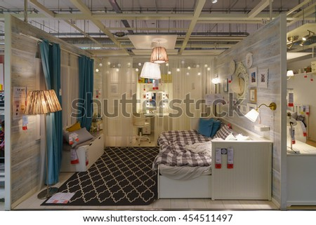 BANGKOK - JUN 26 : Sample of the bed room interior at Ikea , Mega Bangna on Jun 26, 2016. Founded in Sweden in 1943, Ikea is the world's largest furniture retailer.