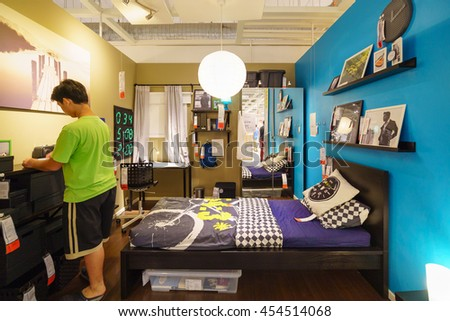 BANGKOK - JUN 26 : Sample of the bed room interior at Ikea , Mega Bangna on Jun 26, 2016. Founded in Sweden in 1943, Ikea is the world's largest furniture retailer. - stock photo