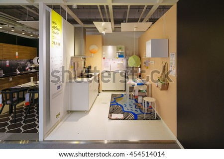 BANGKOK - JUN 26 : Sample of the kitchen room interior at Ikea , Mega Bangna on Jun 26, 2016. Founded in Sweden in 1943, Ikea is the world's largest furniture retailer. - stock photo
