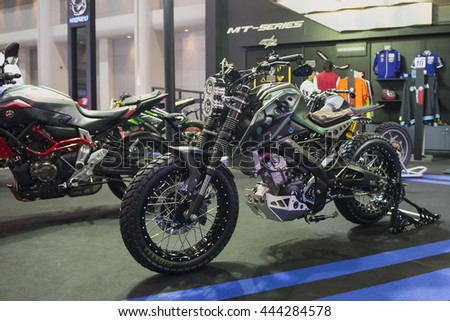BANGKOK - Jun 23 2016 : Yamaha Motorcycle displayed at Bangkok International Auto Salon 2016 , exhibition of vehicles for sale on Jun 23, 2016 in Bangkok, Thailand.