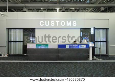 BANGKOK - JUNE 27, 2016 : Airport staff standby at the Customs check counter at Suvarnabhumi Airport, Bangkok, Thailand. Security and Safety concept - stock photo