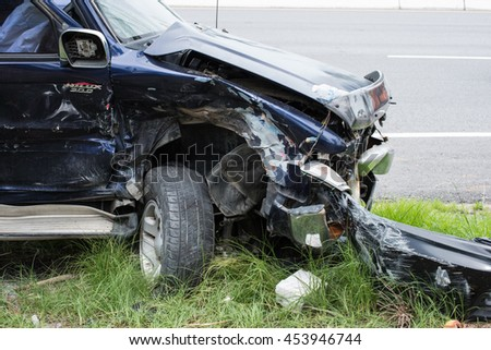 BANGKOK - JUNE 12, 2016 : Car crash accident on street, damaged automobiles after collision in Bangkok, Thailand