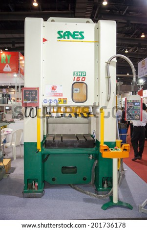 BANGKOK - JUNE 22: CNC machine display at MANUFACTURING EXPO 2014 on June 22, 2014 in BITEC, Bangkok, Thailand.