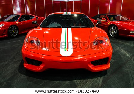BANGKOK   JUNE 20 : Ferrari Sport Car On Display At Bangkok International  Auto Salon 2013
