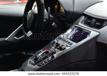 BANGKOK - JUNE 23 : Interior of Lamborghini Aventador on display at Bangkok International Auto Salon 2016 on June 23, 2016 in Bangkok, Thailand. Event of decoration and modify car. - stock photo