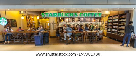 BANGKOK - JUNE 21 :  Starbuck coffe shop at Suvanaphumi Airport, JUNE 21, 2014,Suvarnabhumi airport is world's 4th largest single-building airport terminal.