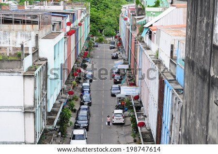 BANGKOK - JUNE 15: Street view in the morning on JUNE 15, 2014 in Bangkok, Thailand.  - stock photo