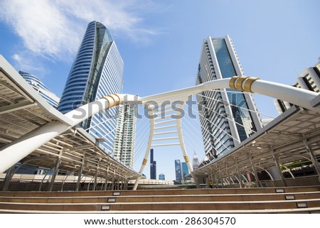 BANGKOK -JUNE 11: View of high buildings and public sky walk for transit between Sky Transit and Bus Rapid Transit Systems at Sathorn-Narathiwas junction on June 11, 2015 in Bangkok, Thailand.