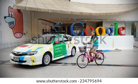BANGKOK - MAR 22: View of a Google Maps car seen in central Bangkok as the internet giant announces the Thai capital has been added to its Street View utility on March 22, 2012 in Bangkok, Thailand. - stock photo
