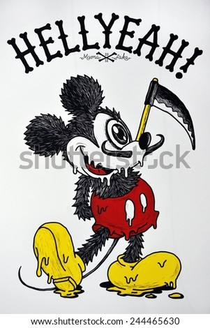 BANGKOK - MAR 15: View of a print depicting cartoon character Mickey Mouse by street artist Mama Faka on Mar 15, 2013 in Bangkok, Thailand. The Thai capital is famous for its vibrant street art scene. - stock photo