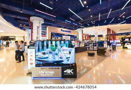 BANGKOK - MARCH 17, 2016: A view at the Panasonic store in the Siam Paragon Shopping mall. It is one of the biggest shopping centres in Asia.