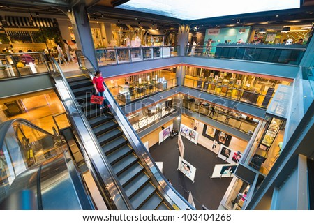 BANGKOK - MARCH 17, 2016 : A view of the interior of the Siam Center. It was built in 1973 and was one of Bangkoks first shopping malls.  - stock photo