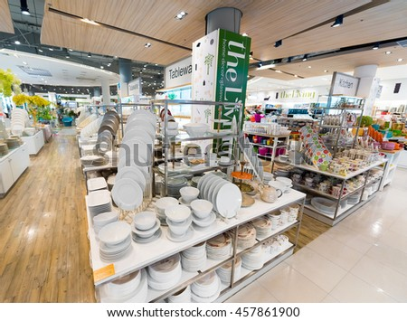 BANGKOK - MARCH 17, 2016: A wide range of tableware at the Living store in the Siam Paragon Mall. It is one of the biggest shopping centres in Asia. - stock photo