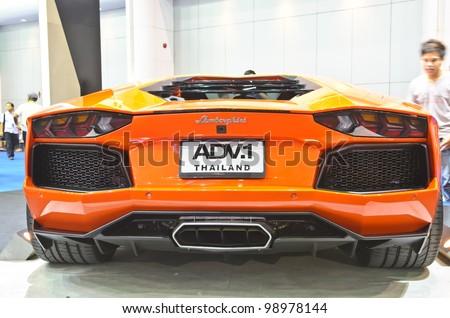 BANGKOK - MARCH 30: ADV1 Lamborghini car on display at The 33th Bangkok International Motor Show on March 30, 2012 in Bangkok, Thailand. - stock photo
