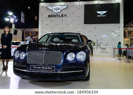 BANGKOK - MARCH 27 : Bentley The new Flying Spur on display at The 35th Bangkok International Motor Show - [Beauty in the Drive] on March 27, 2014 in Bangkok, Thailand. - stock photo