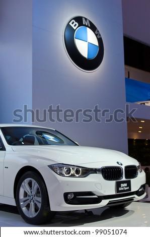 BANGKOK - MARCH 31:  BMW 320d car on display at The 33th Bangkok International Motor Show on March 31, 2012 in Bangkok, Thailand. - stock photo