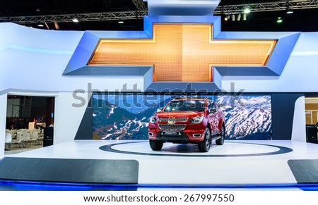 "BANGKOK - MARCH 24 : Chevrolet Colorado High Country on display at The 36th Bangkok International Motor Show ""Art of Auto"" on March 24, 2015 in Bangkok, Thailand. - stock photo"