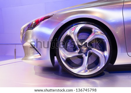 BANGKOK - MARCH 26 : Close up shot of front wheel from Mercedes Benz Concept Style Coupe on display at The 34th Bangkok International Motor Show 2013 in Bangkok, Thailand. - stock photo