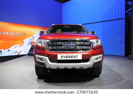 BANGKOK - MARCH 25: Ford Everest car on display at The 36 th Bangkok International Motor Show on March 25, 2015 in Bangkok, Thailand. - stock photo