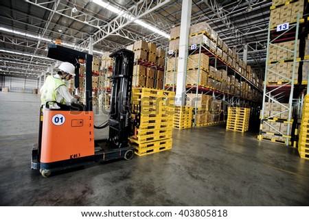 BANGKOK- MARCH 29, 2010: forklift in the large warehouse ,Bangkok, Thailand - stock photo