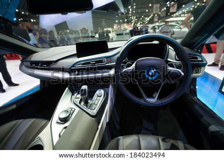 BANGKOK - MARCH 25 : interior of BMW i8 hybrid production car on display at The 35th Bangkok International Motor Show on March 25, 2014 in Nonthaburi, Thailand. - stock photo