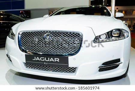 BANGKOK - MARCH 27 : JAGUAR XJ on display at The 35th Bangkok International Motor Show - [Beauty in the Drive] on March 27, 2014 in Bangkok, Thailand. - stock photo