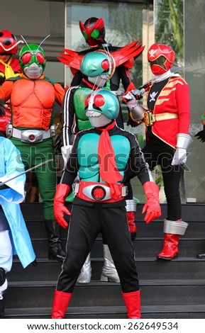 BANGKOK - MARCH 22 : Kamen Rider from The Kamen Rider Series Show in Thailand on March 22, 2015 at Fortune Town Plaza, Bangkok, Thailand.