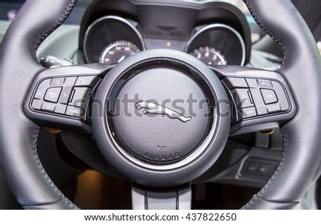 Bangkok - March 22 : logo of Jaguar on steering wheel - in display at The 37th Bangkok international Motor Show 2016 on March 22, 2016 in Bangkok Thailand - stock photo