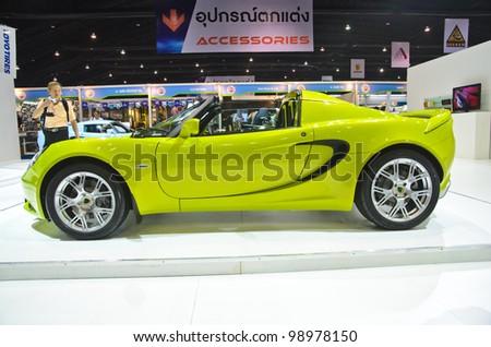 BANGKOK - MARCH 30: Lotus car  on display at The 33th Bangkok International Motor Show on March 30, 2012 in Bangkok, Thailand - stock photo