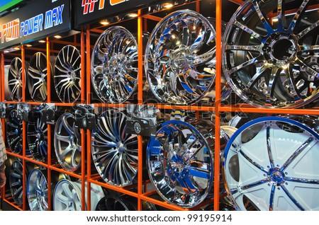 BANGKOK - MARCH 30: Magnesium alloy wheels on display at The 33th Bangkok International Motor Show on March 30, 2012 in Bangkok, Thailand. - stock photo