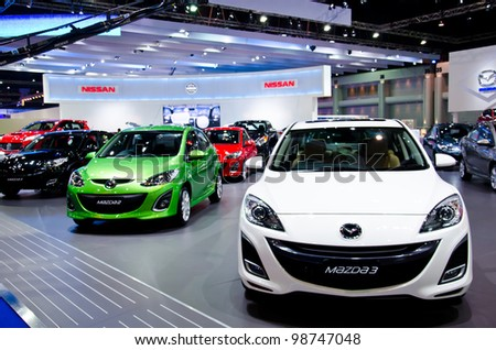 BANGKOK - MARCH 27: Mazda car on display at The 33th Bangkok International Motor Show  on March 27, 2012 in Bangkok, Thailand. - stock photo