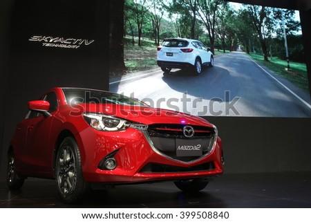 Bangkok - March 31 : Mazda 2 on red car at The 37th Bangkok International Thailand Motor Show 2016 on March 26, 2016 in Bangkok, Thailand - stock photo