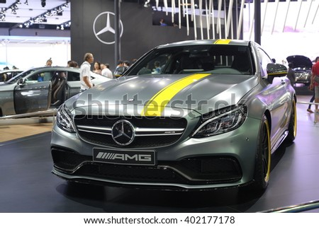 Bangkok - March 31 : Mercedes Benz on gray car at The 37th Bangkok International Thailand Motor Show 2016 on March 31, 2016 in Bangkok, Thailand - stock photo